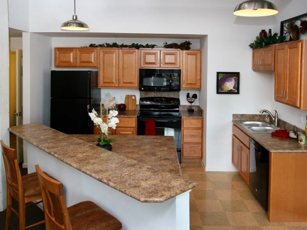 wooden cabinet and granite countertops in small apartment kitchen