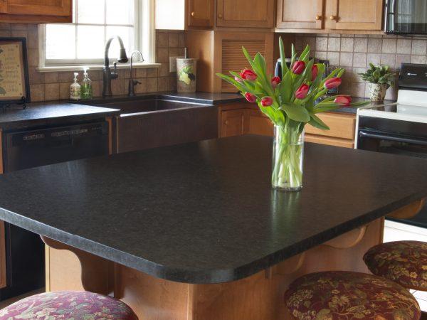 brand new black quartz kitchen island