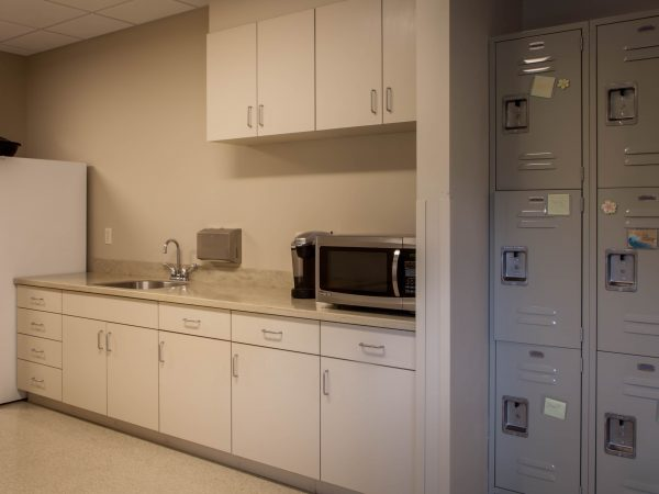 beige medical office cabinets and countertop