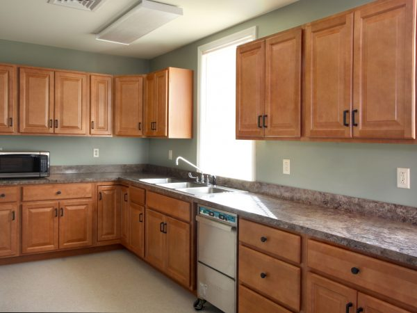 new wooden cabinets and laminate countertop
