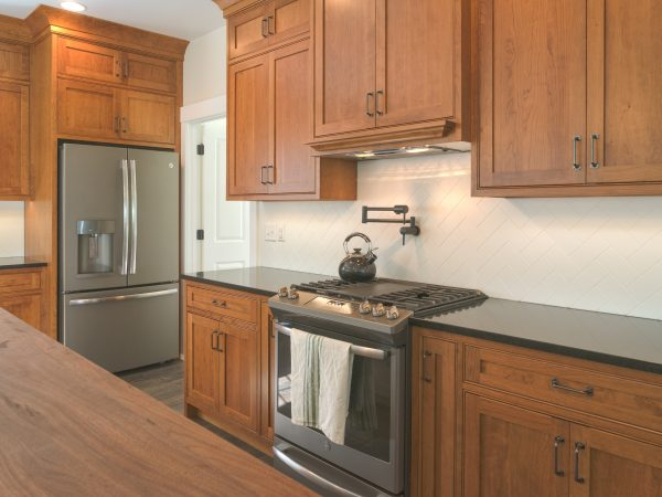 wooden medium stain farmhouse cabinets