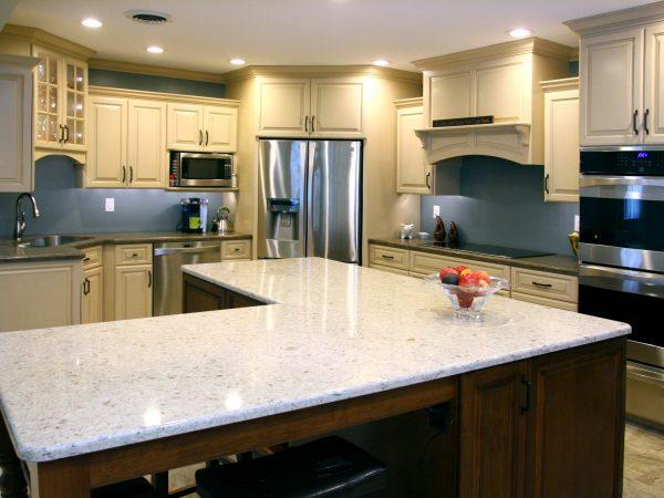 white granite kitchen island