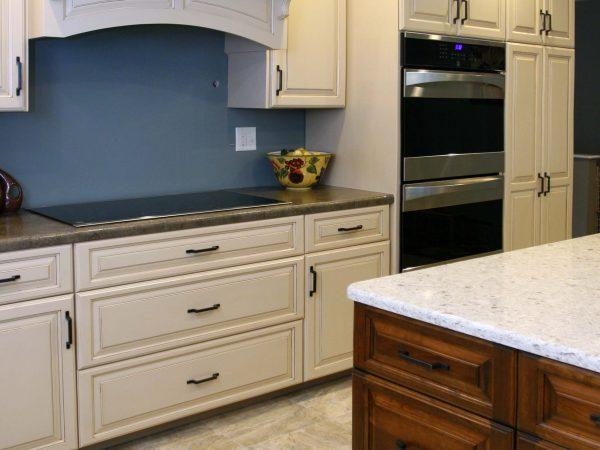 white cabinets in newly remodeled kitchen