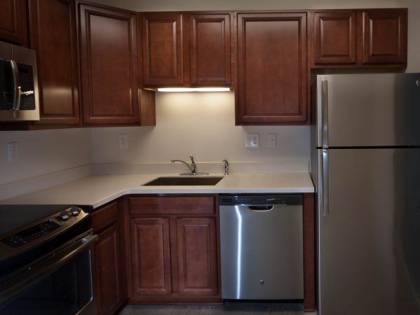 dark hardwood kitchen cabinets