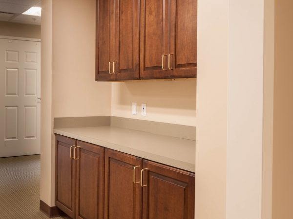 wooden commercial desk cabinetry