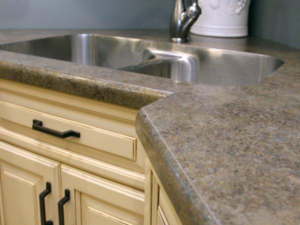 laminate kitchen countertop surface around sink