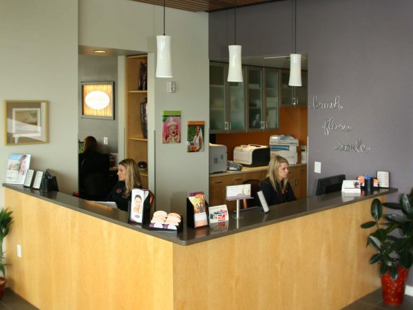 wooden countertops and cabinets for dental office