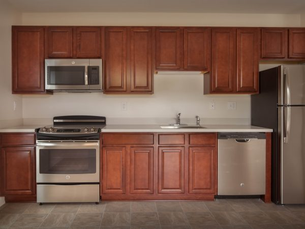hardwood cabinets installation in apartment