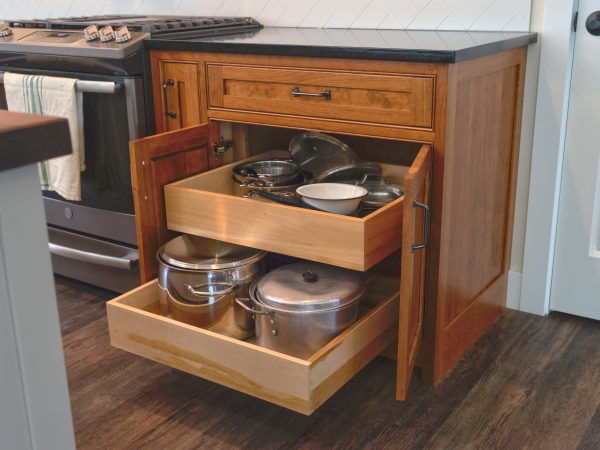 farmhouse wooden cabinets with pull out drawers