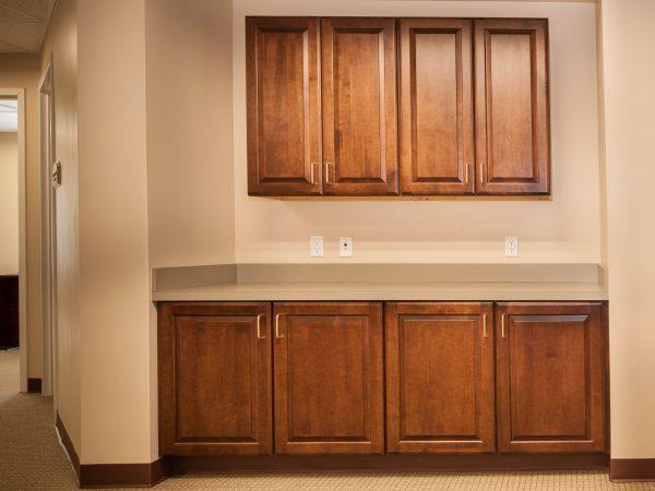 wooden cabinets in nursing center