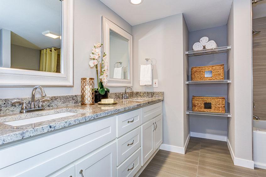 Corian countertop for a bathroom renovation