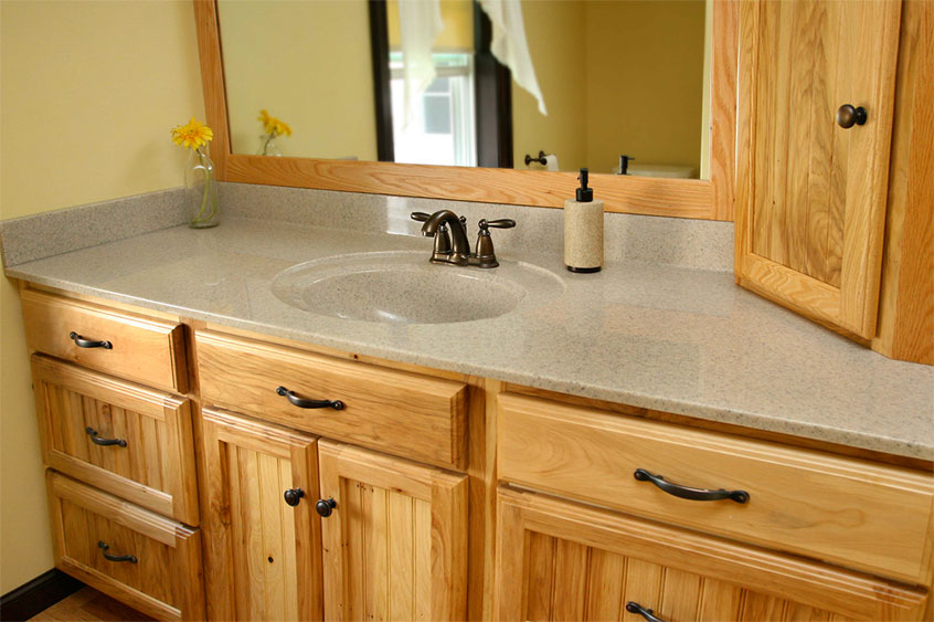 Bathroom cabinets with matching mirror