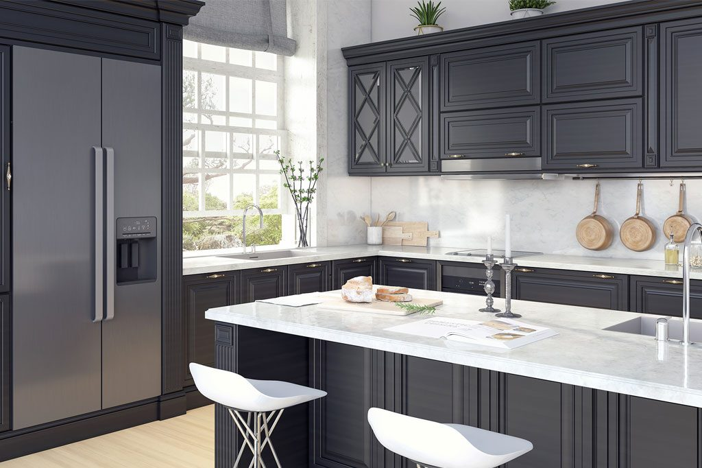 dark gray kitchen cabinet