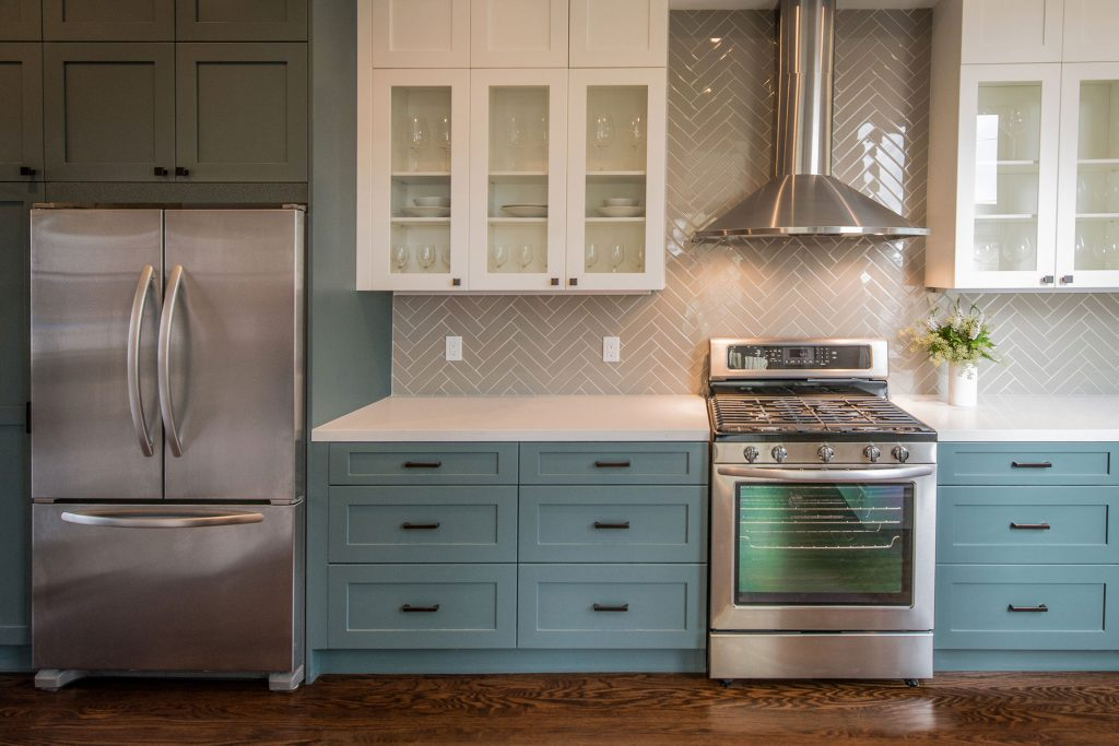 light blue kitchen cabinets and storage