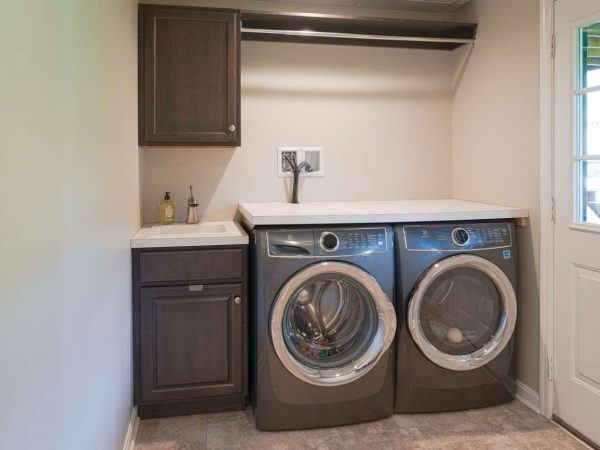 faux wood cabinets in laundry room