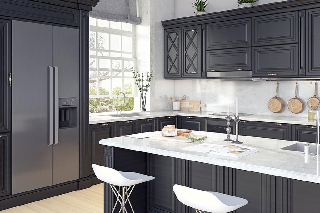 Black kitchen with white Quartz countertop