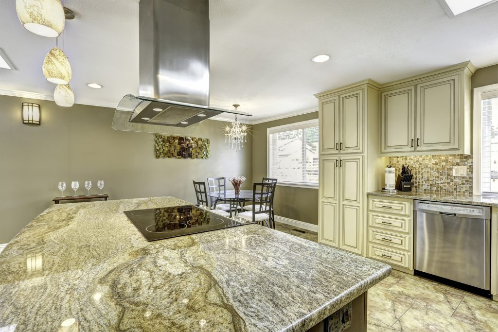 new granite counter with veins