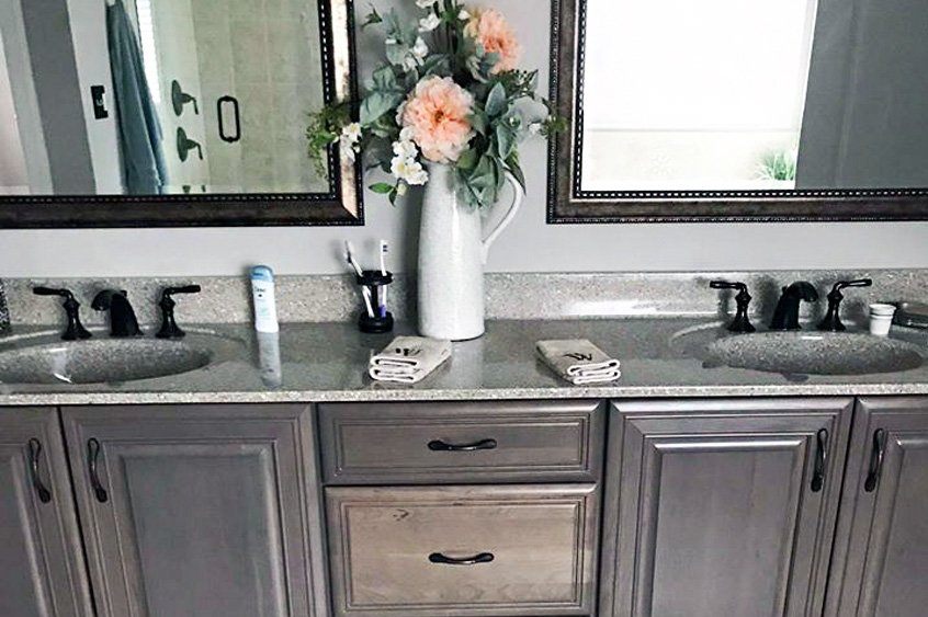 Custom bathroom vanity with modern flair
