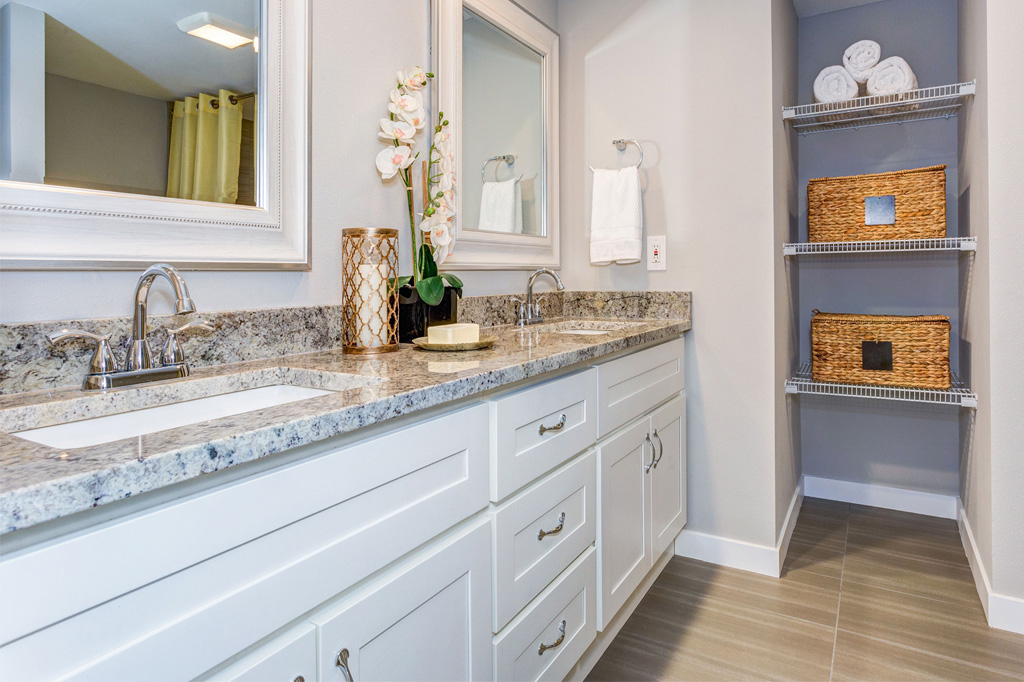 large bathroom vanity with dual bathroom sinks