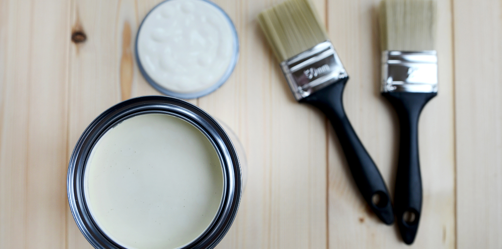 Paint brushes and can for remodeling kitchen