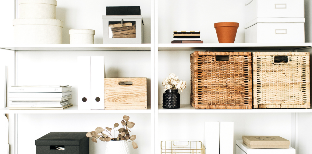 Mudroom open shelving and storage bins