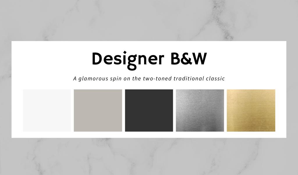 designer b&w two-toned kitchen color scheme
