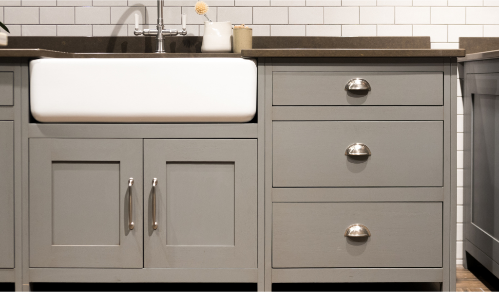 gray kitchen cabinets and drawers