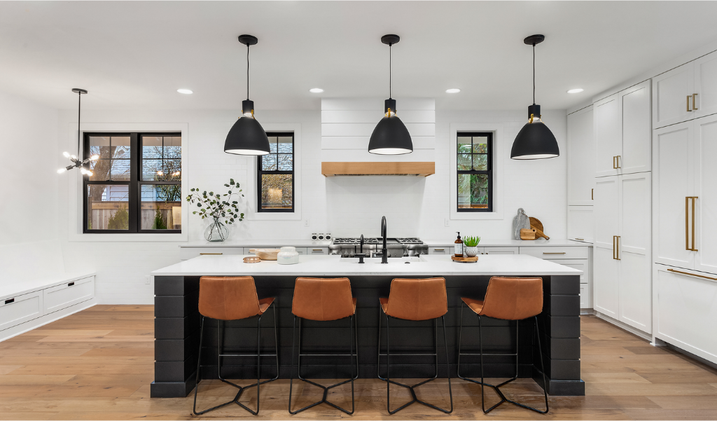 kitchen remodel in black and white colors