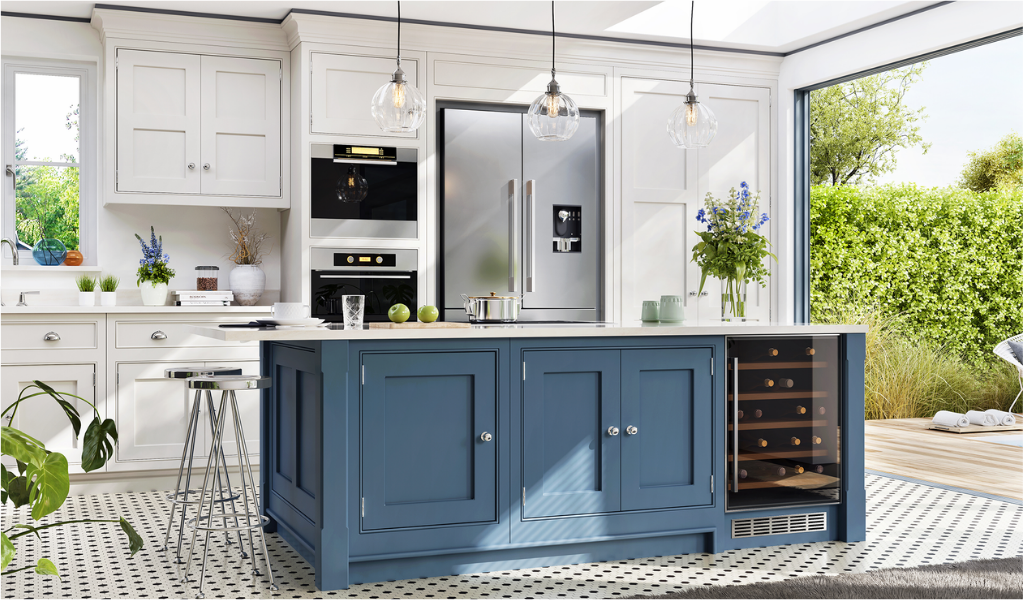 kitchen island with teal cabinets and drawers