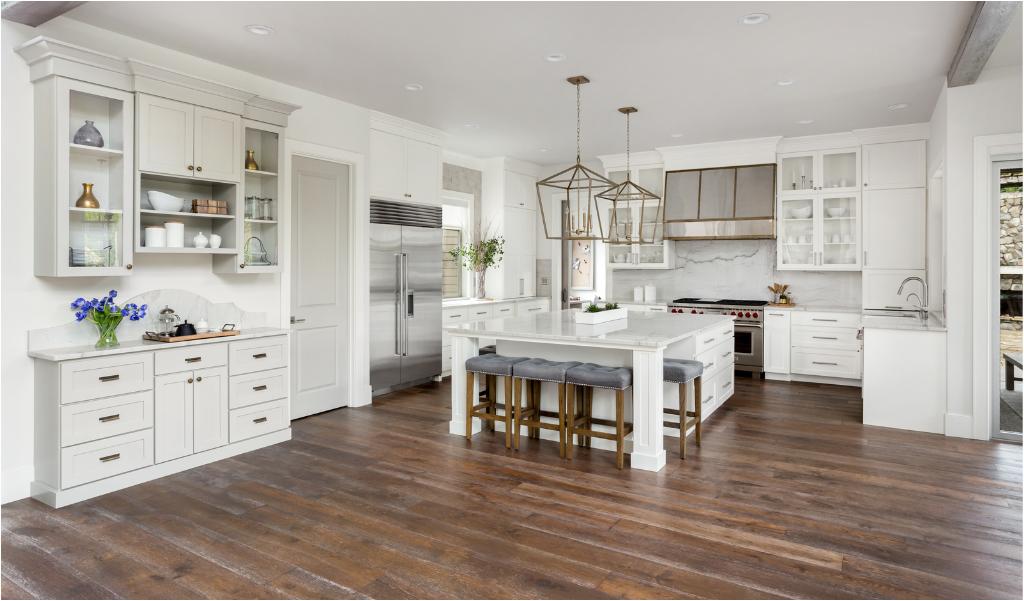 Modern farmhouse kitchen cabinets in white