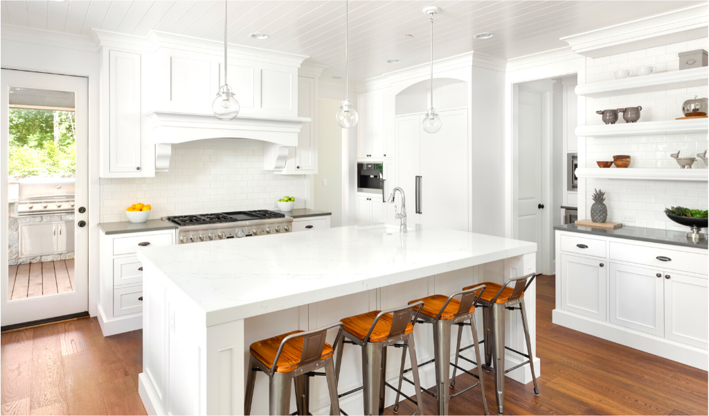 white two tone kitchen remodel