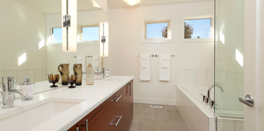 double sink with white granite countertops