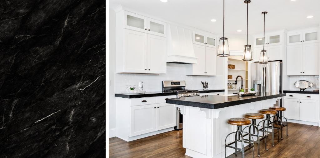 Modern black granite countertop kitchen
