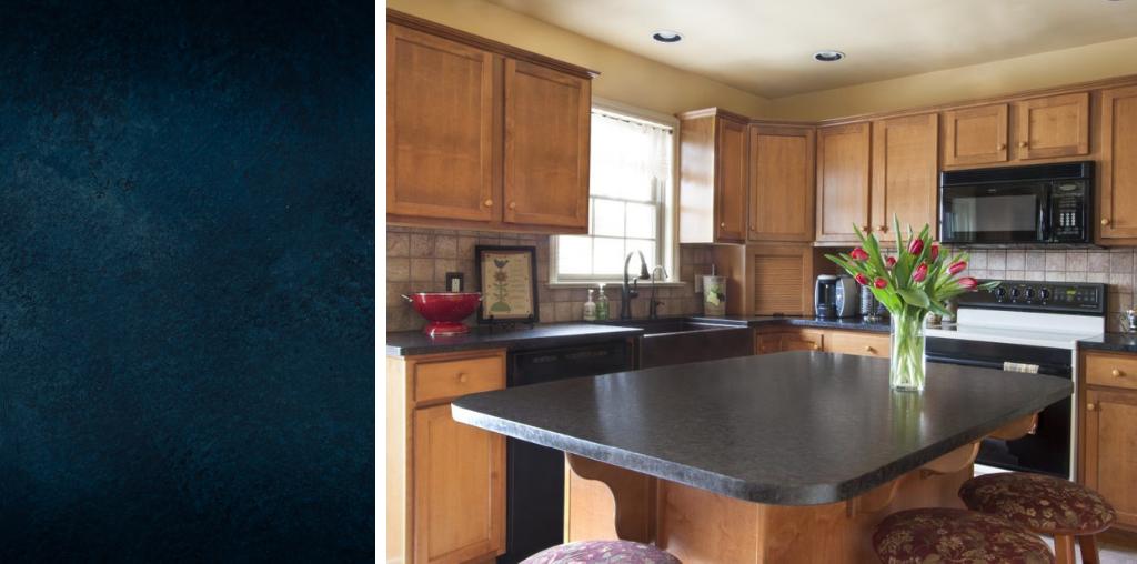 Blue granite countertop in Lancaster PA kitchen