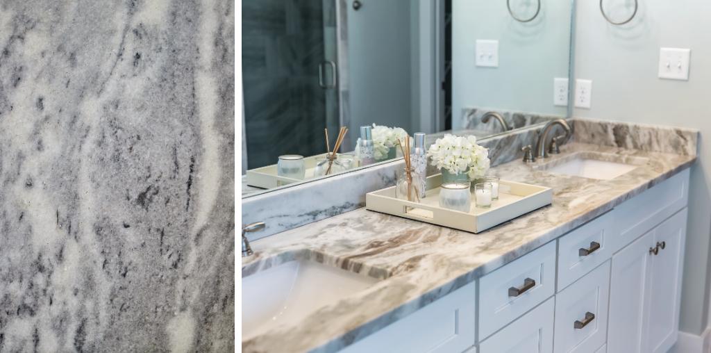 Gray granite countertop color in bathroom