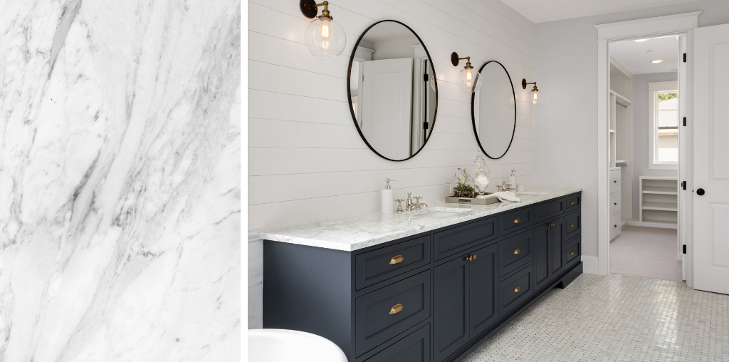 White granite countertop in bathroom