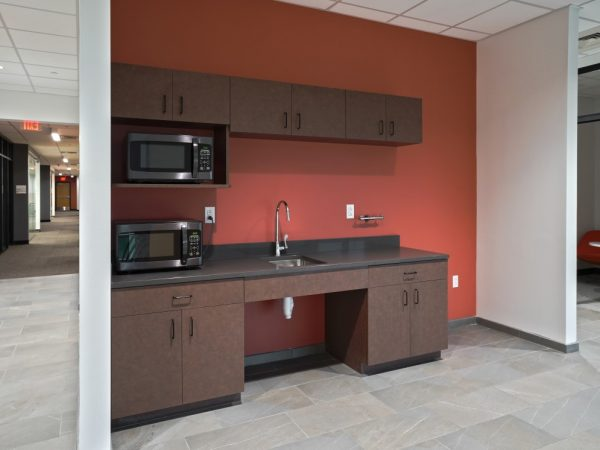 wooden kitchenette in office