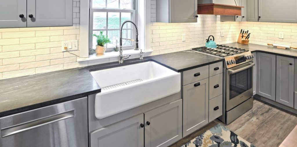 farmhouse style kitchen remodel with large sink