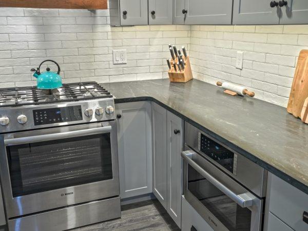 dark gray quartz kitchen countertop