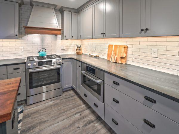 modern dark gray kitchen cabinets and drawers