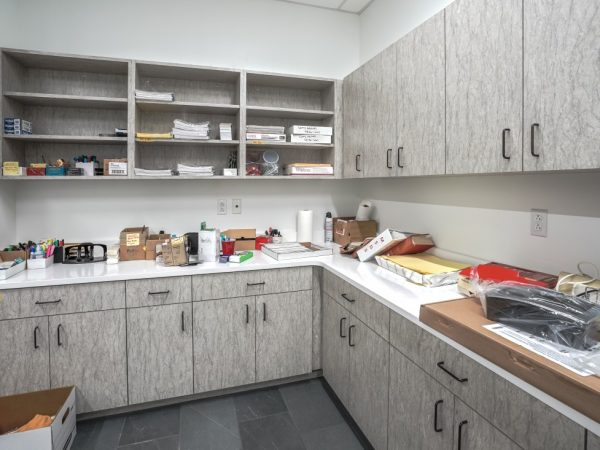 office overhead and under countertops in mailroom