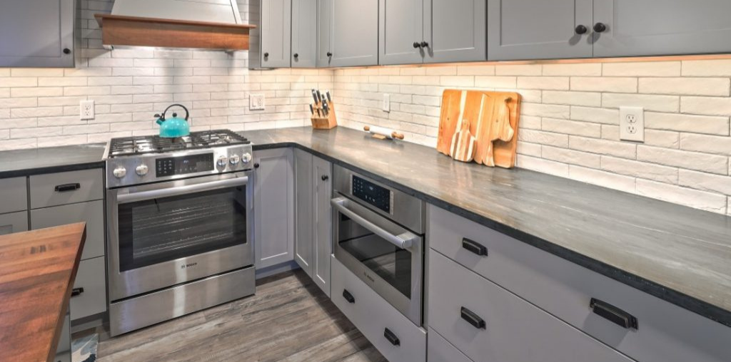 modern gray kitchen cabinets and drawers
