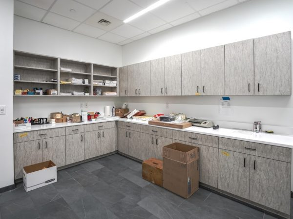 gray fabric office cabinets