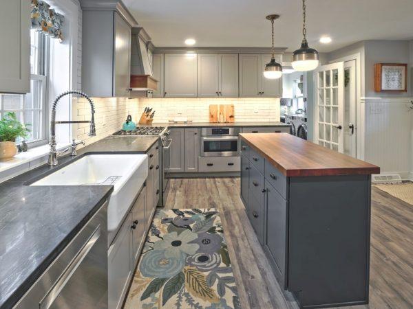 dark gray modern kitchen remodel
