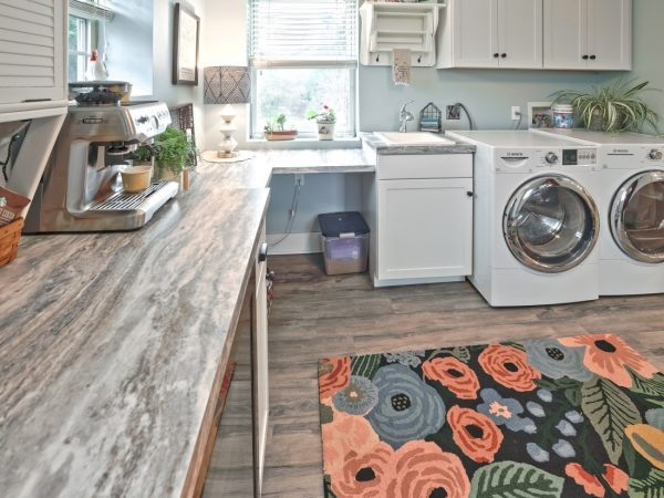new white cabinets in laundry room