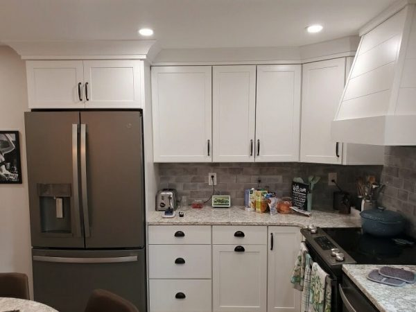 white front facing cabinet installation