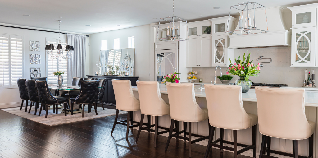 Kitchen upgrade with new seating for entertaining