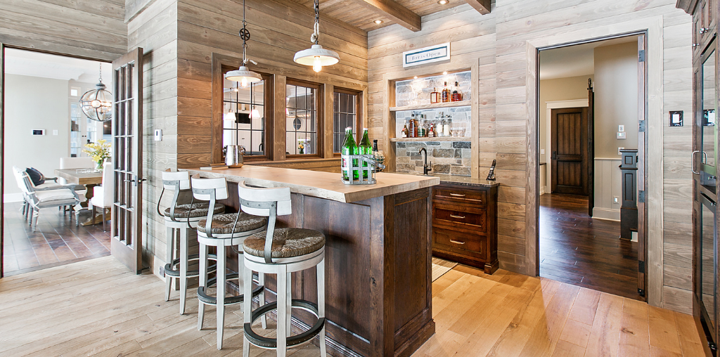 rustic kitchen with faux wood siding