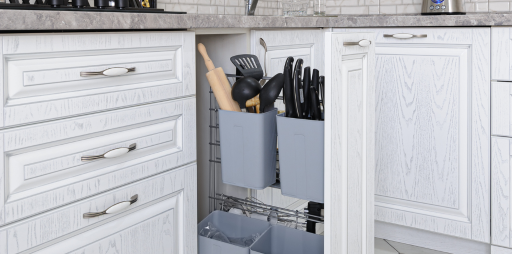 Updated kitchen cabinets with vertical storage