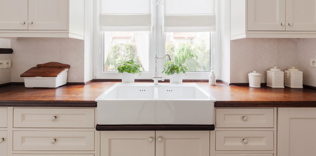 Wood countertops with large entertainer's sink